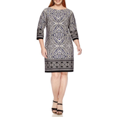 jcpenney.com | London Times 3/4-Sleeve Printed Sheath Dress - Plus