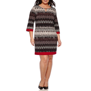 jcpenney.com | Ronni Nicole 3/4-Sleeve Printed Sheath Dress - Plus