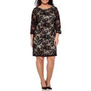 RN Studio by Ronni Nicole 3/4-Sleeve Lace Sheath Dress - Plus