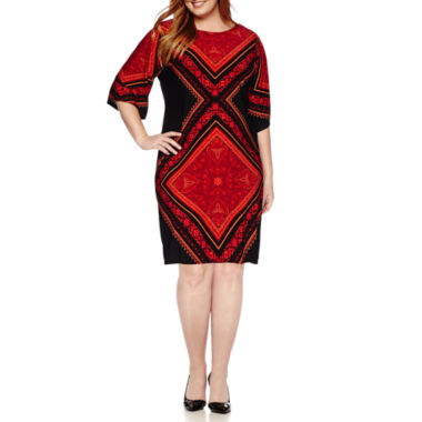 jcpenney.com | London Style Collection 3/4-Sleeve Printed Sheath Dress - Plus