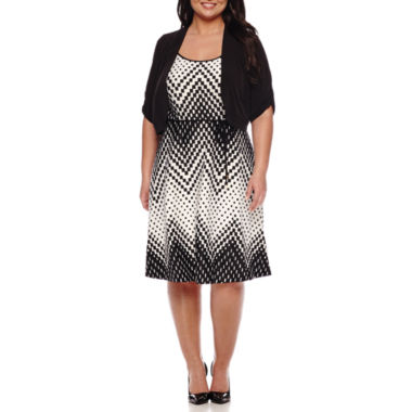 jcpenney.com | Studio 1® Elbow-Sleeve Belted Chevron Jacket Dress - Plus