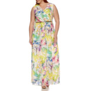 Donna Ricco Sleeveless Floral Chiffon Maxi Dress - Plus