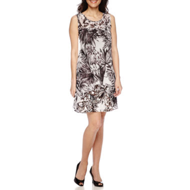 jcpenney.com | Robbie Bee® Sleeveless Printed Chiffon A-Line Dress - Petite