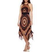 Studio 1® Sleeveless Halter-Neck Hanky-Hem Fit-and-Flare Dress - Petite