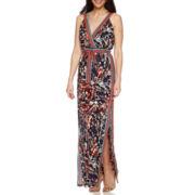 Signature by Sangria Sleeveless Tie-Waist Maxi Dress - Petite