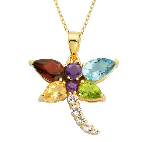 Genuine Multi Gemstone 18K Gold Over Silver Dragonfly Pendant