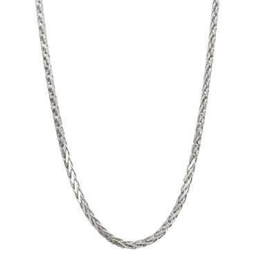 "jcpenney.com | 14K White Gold Diamond-Cut Wheat Chain 24"" Necklace"