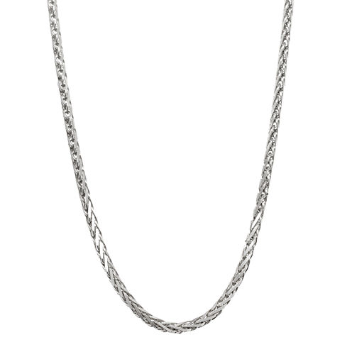 "14K White Gold Diamond-Cut Wheat Chain 24"" Necklace"