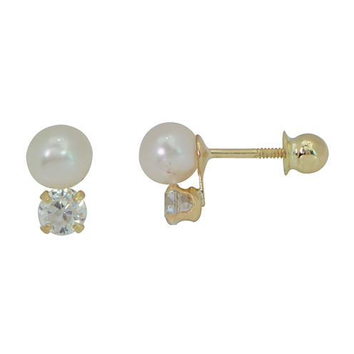 Girls 14K Gold Cultured Freshwater Pearl And Cubic Zirconia Stud Earrings