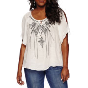 by&by Cold-Shoulder Embroidered Peasant Blouse - Plus