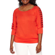 by&by 3/4-Sleeve Banded-Bottom Top - Plus