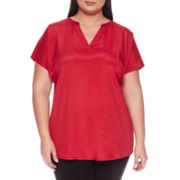 Worthington® Short-Sleeve Metal-Trim Top - Plus