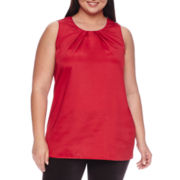Worthington® Sleeveless Metal-Trim Tunic - Plus
