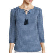 St. John's Bay® Long-Sleeve Tie-Front Pleated Peasant Blouse