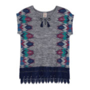 Arizona Short-Sleeve Top with Crochet Trim - Girls 7-16 and Plus