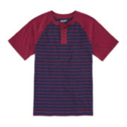 Arizona Short-Sleeve Striped Henley Tee - Boys 8-20 and Husky