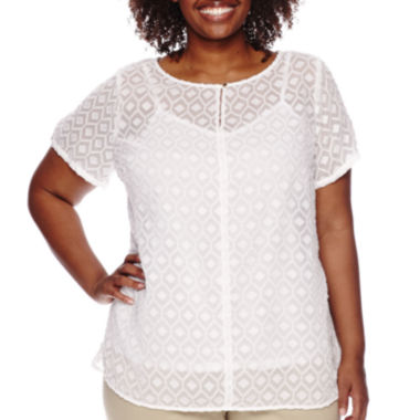 jcpenney.com | Liz Claiborne® Short-Sleeve Textured Tee - Plus