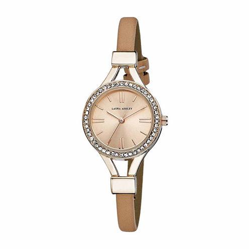 Laura Ashley Womens Rose Goldtone Strap Watch-La31025rg