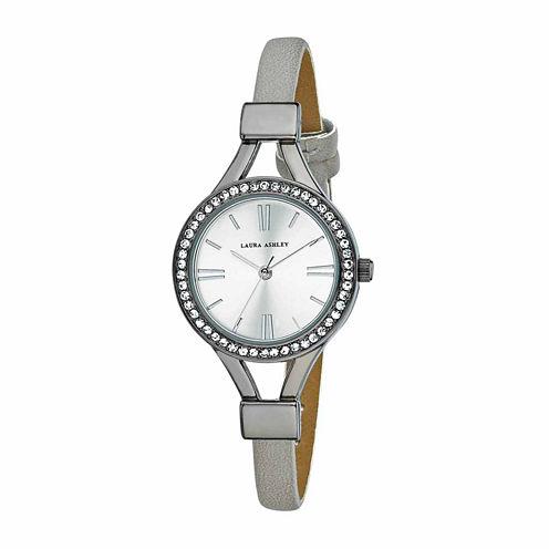 Laura Ashley Womens Gray Strap Watch-La31025gn