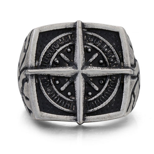 Mens Stainless Steel Compass Signet Ring
