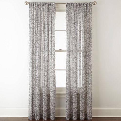 Royal Velvet Cherise Leopard Print Rod-Pocket Sheer Curtain Panel