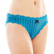 Ambrielle® Sheer Striped Bikini Panties