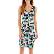 nicole by Nicole Miller® Sleeveless Palm Print Sheath Dress