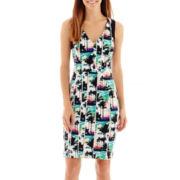 nicole by Nicole Miller® Sleeveless Palm Print Sheath Dress