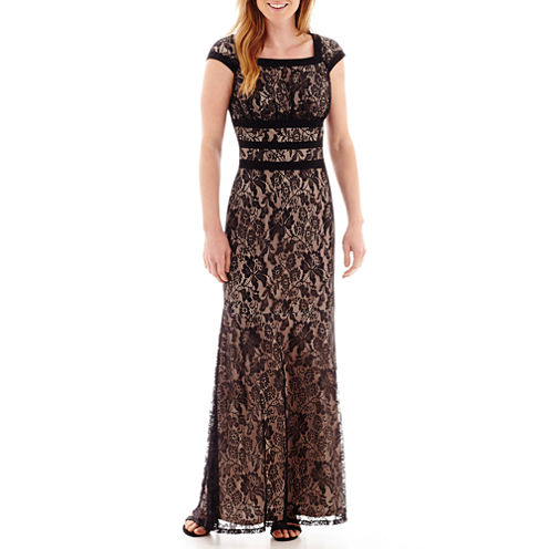 Melrose Cap-Sleeve Lace Long Dress