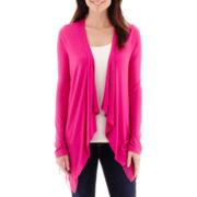 a.n.a® Long-Sleeve Chiffon-Trim Knit Flyaway Cardigan - Tall