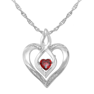 Love in motion dancing garnet diamond accent heart pendant love in motion genuine garnet and diamond accent heart pendant necklace aloadofball