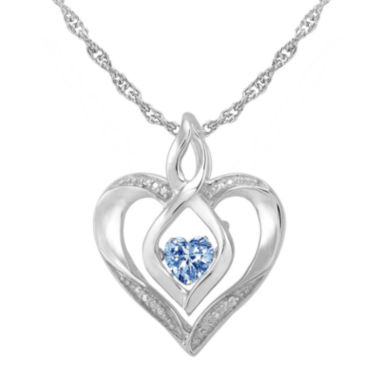 jcpenney.com | Love in Motion™ Simulated Aquamarine and Diamond-Accent Heart Pendant Necklace