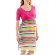 Maternity Elbow-Sleeve Colorblock Dress - Plus