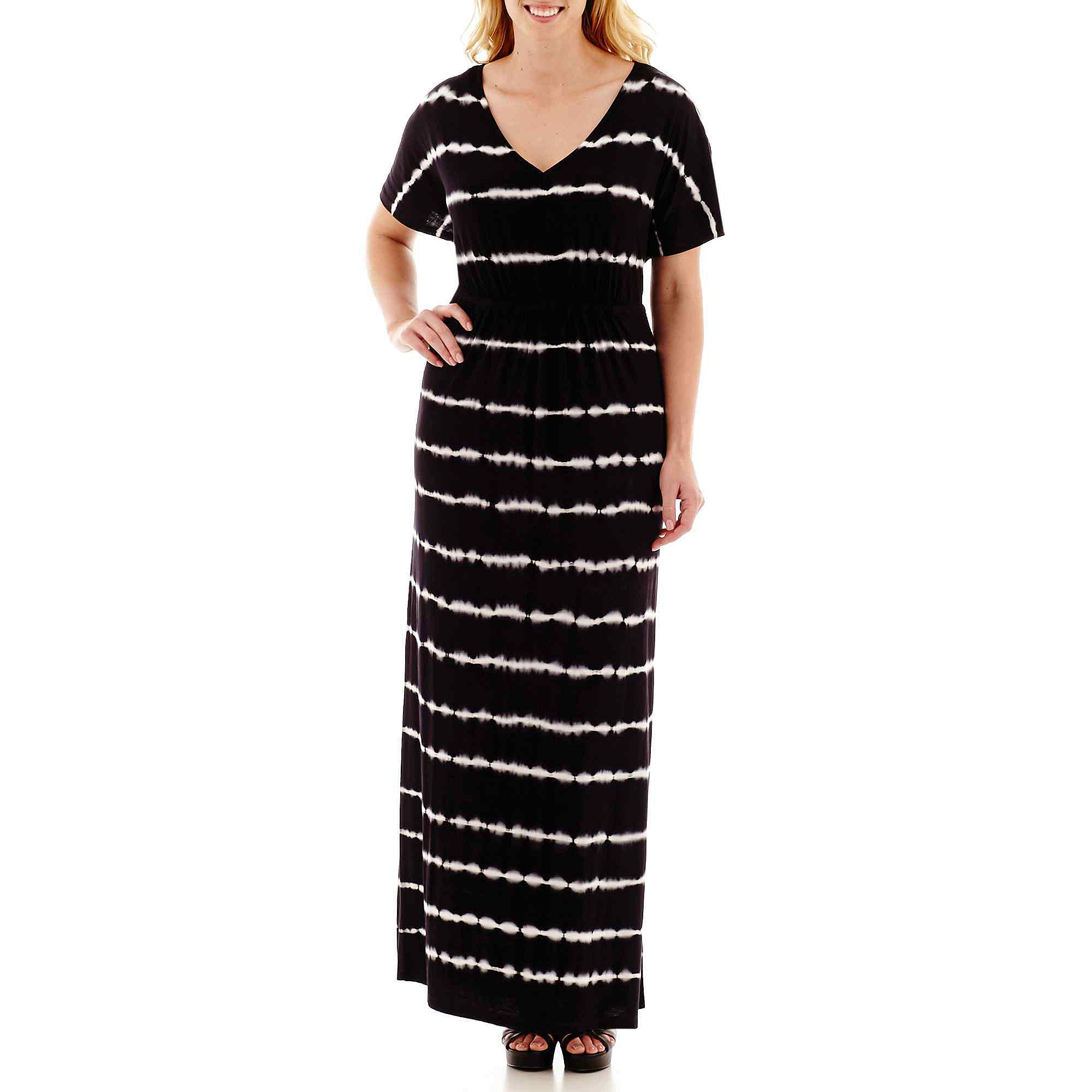 a.n.a Short-Sleeve Tie-Dyed Maxi Dress - Plus