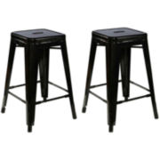Set of 2 Backless Metal Barstools