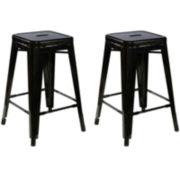 Set of 2 Backless Metal Barstools