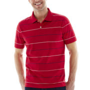 St. John's Bay® Short-Sleeve Heather Stripe Jersey Polo