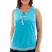 St. John's Bay® Sleeveless Embroidered Tank Top - Plus