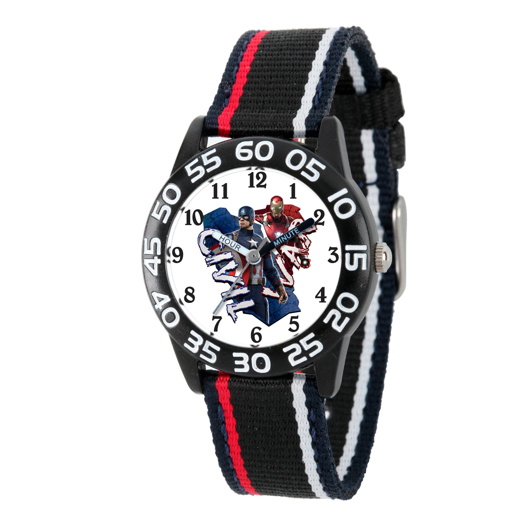 Marvel Boys Black And White Captain America Civil War Time Teacher Plastic Strap Watch W003118