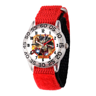 jcpenney.com | Marvel Boys Red Captain America Civil War Time Teacher Plastic Strap Watch W003120
