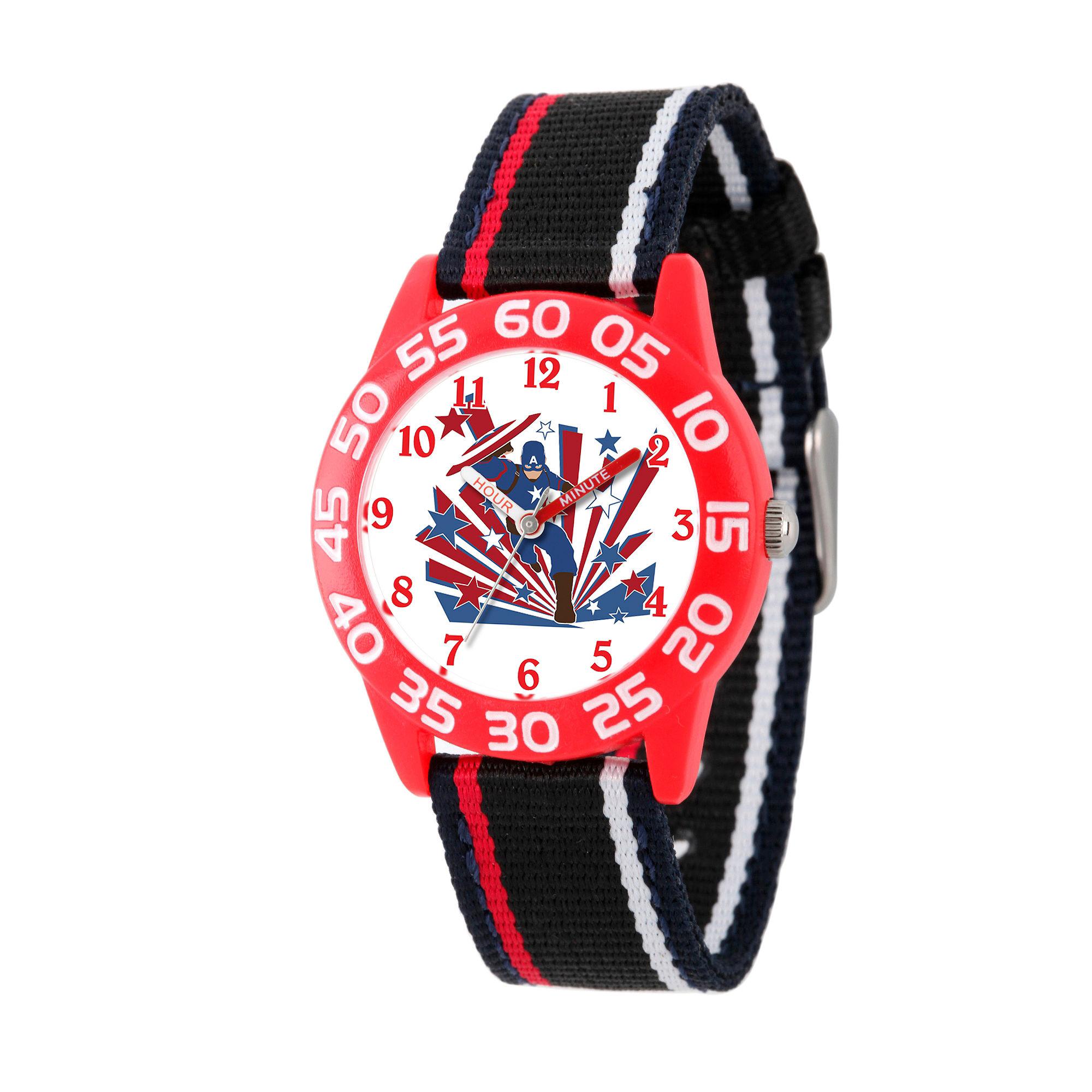 Marvel Boys Black And Red Captain America Civil War Time Teacher Plastic Strap Watch W003121