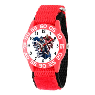 jcpenney.com | Marvel Boys Red And White Captain America Civil Way Time Teacher Plastic Strap Watch W003124