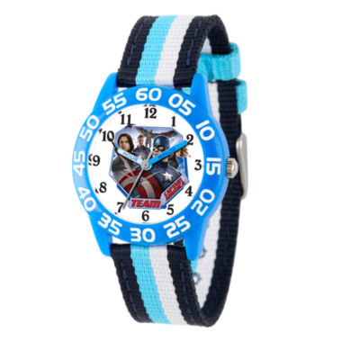 jcpenney.com | Marvel Boys Blue And White Captain America Civil War Time Teacher Plastic Strap Watch W003125