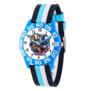 Marvel Boys Blue And White Captain America Civil War Time Teacher Plastic Strap Watch W003125
