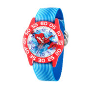 Marvel Boys Blue And Red Spiderman Time Teacher Plastic Strap Watch W003224