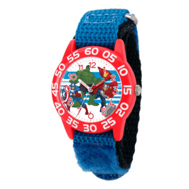 jcpenney.com | Marvel Boys Blue And Red Avengers Time Teacher Plastic Strap Watch W003235