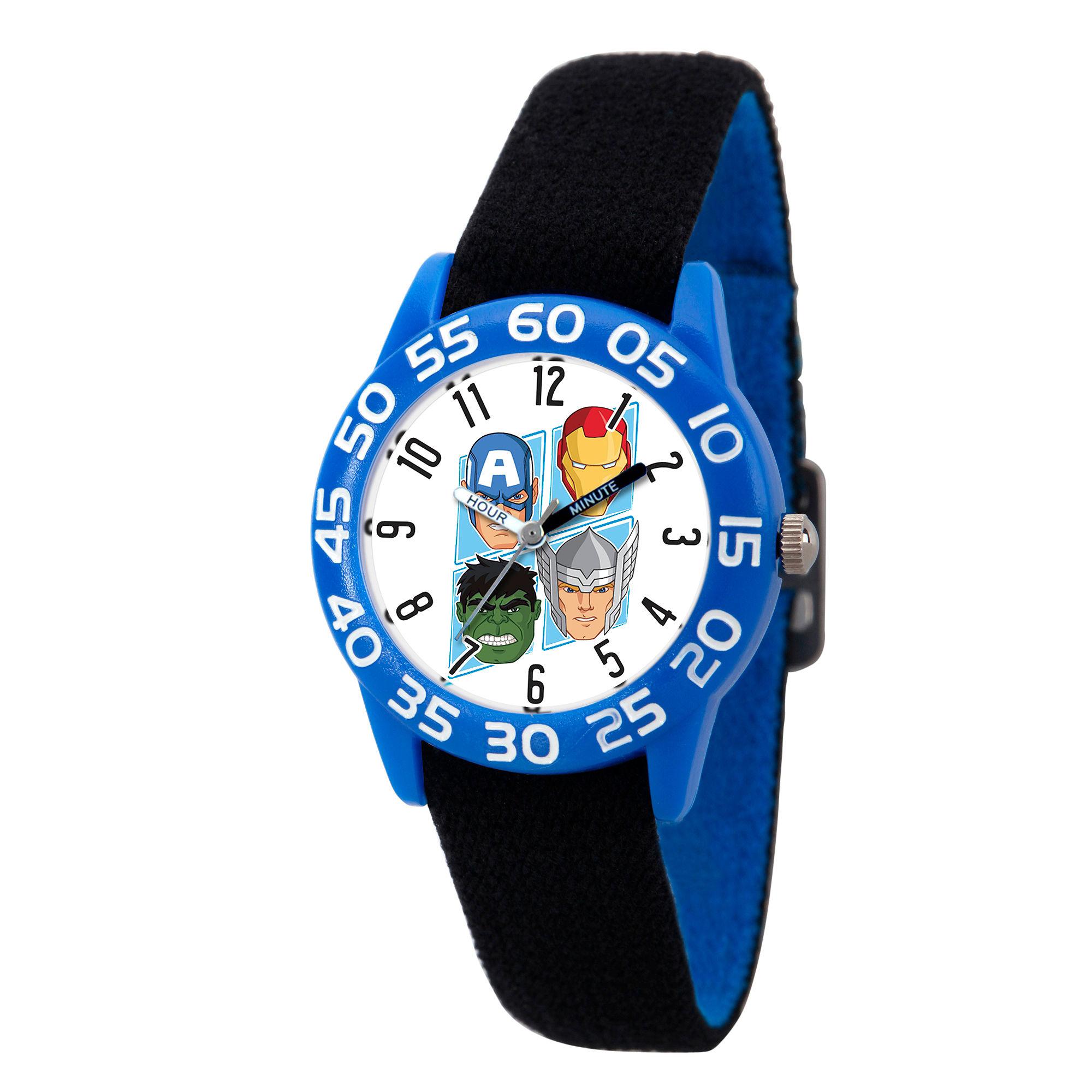 Marvel Boys Black And Blue Avengers Time Teacher Plastic Strap Watch W003238