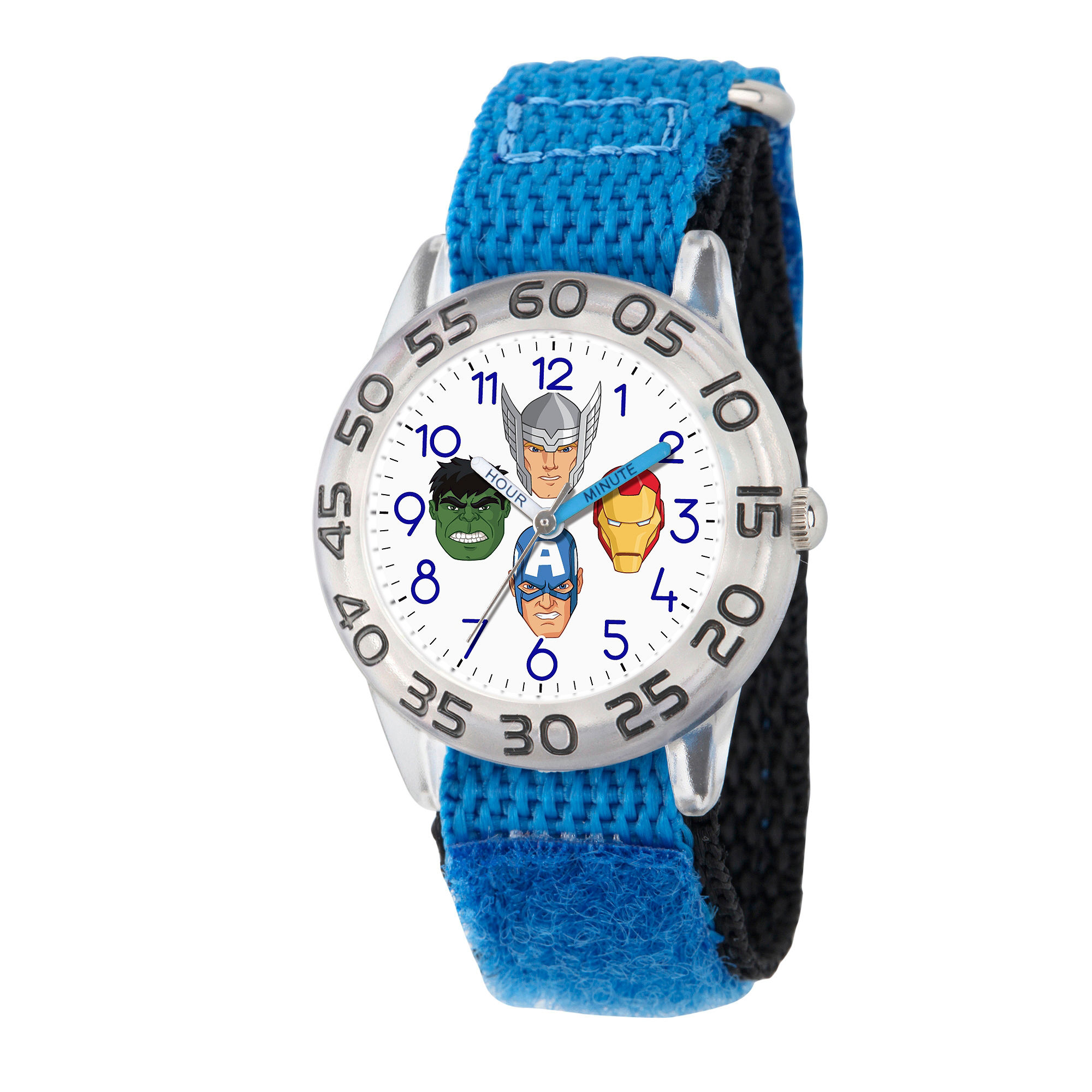 Marvel Boys Blue And White Avengers Time Teacher Plastic Strap Watch W003239