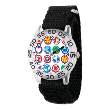 jcpenney.com | Marvel Boys Black And Silver Tone Avengers Time Teacher Plastic Strap Watch W003243