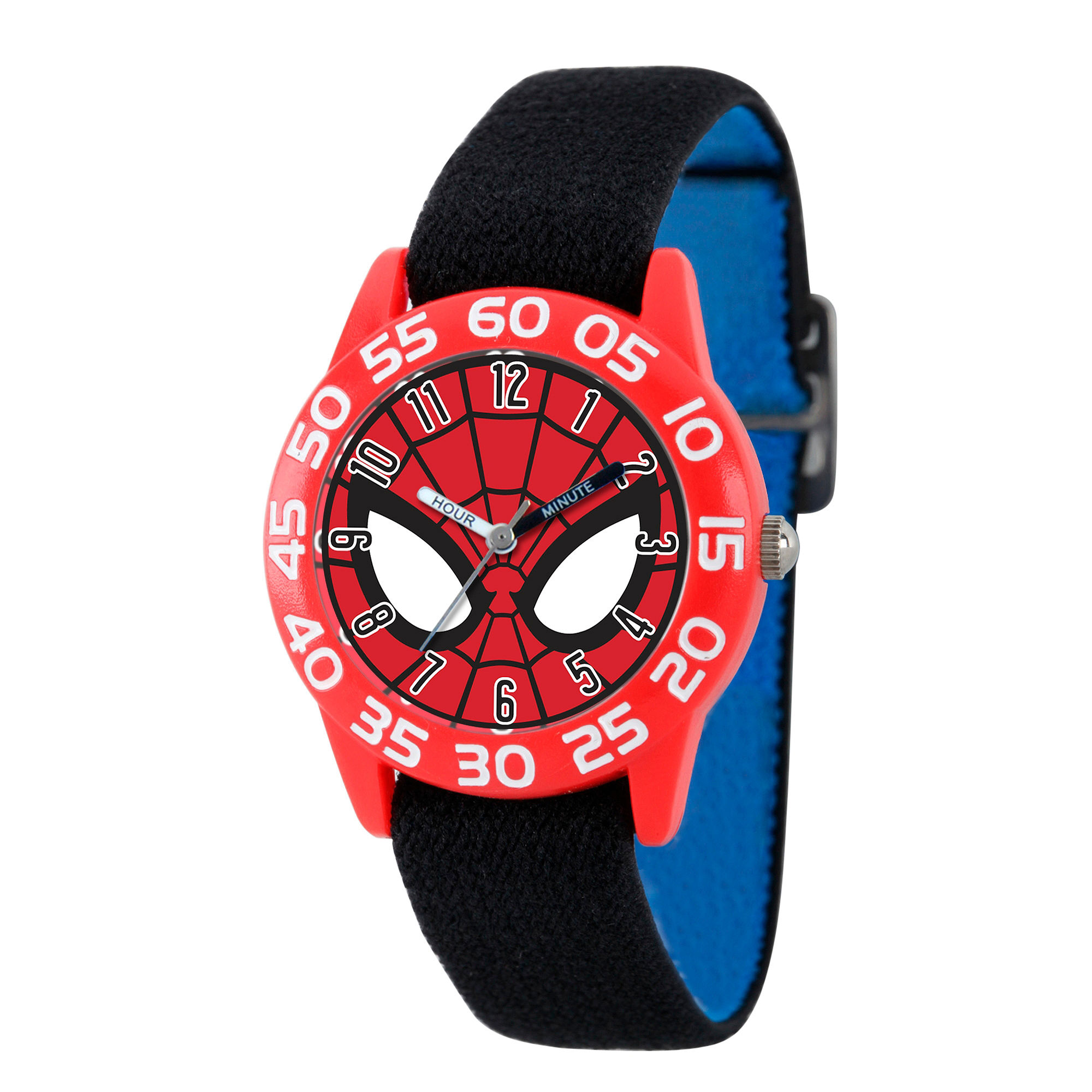 Marvel Boys Black And Red Spiderman Time Teacher Plastic Strap Watch W003245